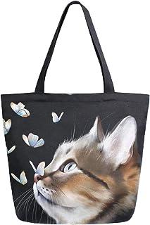 Mnsruu Wiederverwendbare Einkaufstasche für Damen, Motiv: schwarze Katze, mit Schmetterlingen, große Handtasche, Schultert...