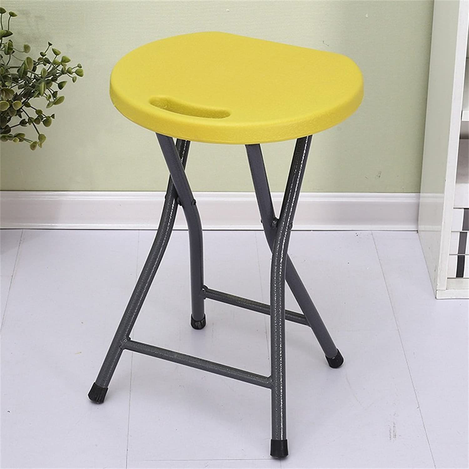 PVC Material Folding Stool 150 Kg Negative Weight Comfortable Portable Yellow 45  33  33cm