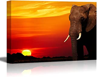wall26 - Canvas Prints Wall Art - African Elephant in Savanna at Sunset | Modern Wall Decor/Home Decoration Stretched Gallery Canvas Wrap Giclee Print. Ready to Hang - 24