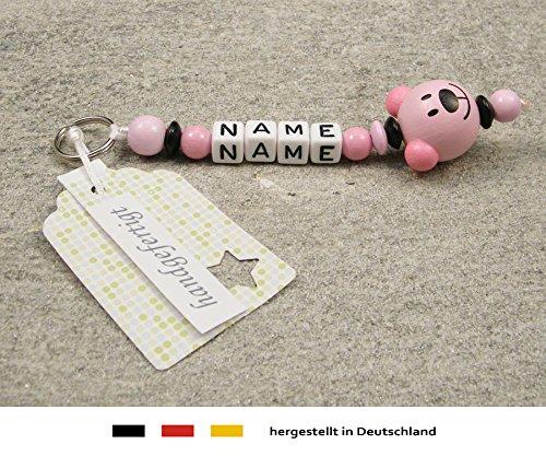 Naamhanger - hanger met naam - baby kinderen sleutelhanger voor wikkeltas, kleuterschooltas, schooltas of rugzak met sleutelring - meisje motief beer in roze