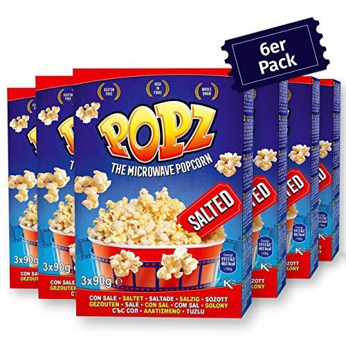 Popz Salted Popcorn 6er Pack (6 x 270 g), Popcorn Mais für das perfekte Filmerlebnis zu Hause, Mikrowellenpopcorn mit leckerem Meersalz