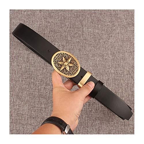 JMFHCD Cintura Uomo Pelle Elegante, 100% Artigianale Vera Pelle 38mm di Larghezza con Classica retrò Fibbia Liscia Conmotivo a Sei Stelle in Rame, Adatto a Jeans Tailleur,Blacka,125cm