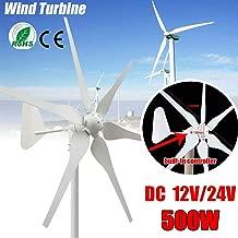 XIAOXIAO 500W 12V / 24V DC Wind Turbine, 6-Blade Miniature Wind Turbine Residential Wind Turbine Controller,12V