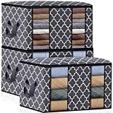 Fab totes Clothes Storage Bag Organizer [3 Pack/100L], Large Capacity Clothes Organization with Reinforced Handle and Clear Window, Foldable Storage Containers for Comforter, Blanket, Bedding, Grey