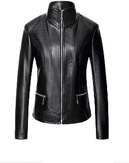 Mogogo Women's PU Stand Collar Faux Leather Zipper Long-Sleeve Jacket