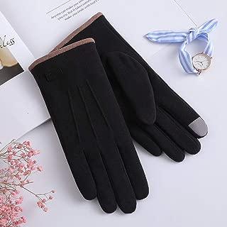 JCCOZ Gloves Female Winter Warm Plus Velvet Thickening Cycling Wool Velvet Student Touch Screen Full Finger Gloves (Color : E)