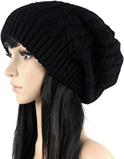 Women's Winter Knit Chunky Ribbed Slouch Pull Back Skull Slouchy Beanie Hat