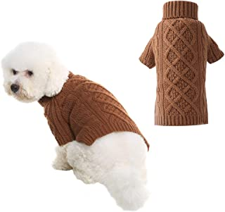 PUPTECK Classic Cable Knit Dog Sweater - Pet Turtleneck Coat Puppy Winter Clothes 2 Colors