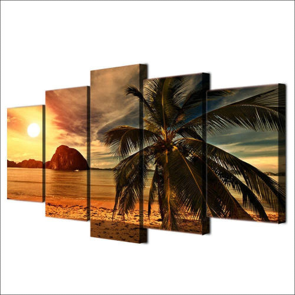 5 Large-scale sale Price reduction Piece Canvas Wall Art Beach Panel Tropical Island S