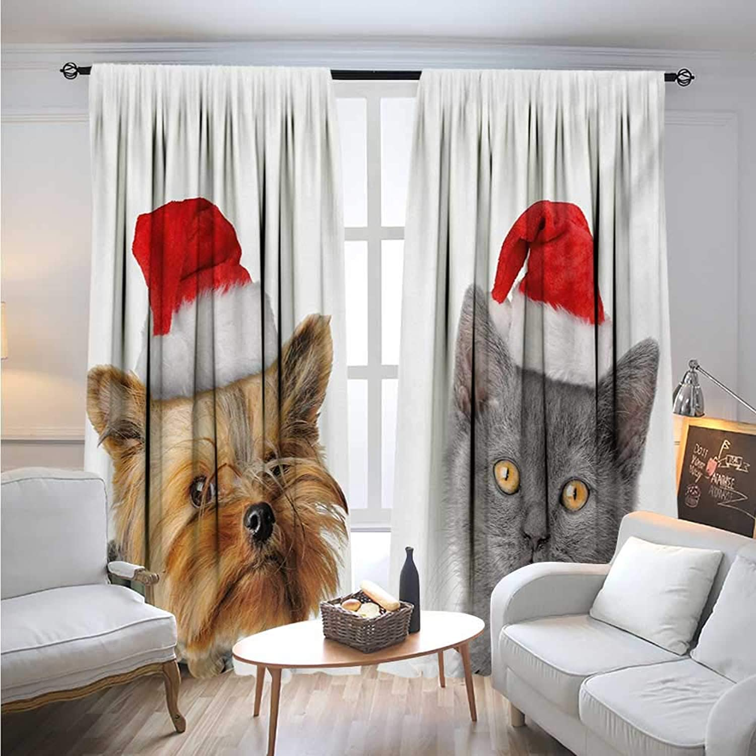 BlountDecor ChristmasBlackout DrapesAdorable Cat and Dog with Xmas Hats Domestic Pet Animals Holiday CelebrationCover The Sun W72 x L96 orange Grey Red