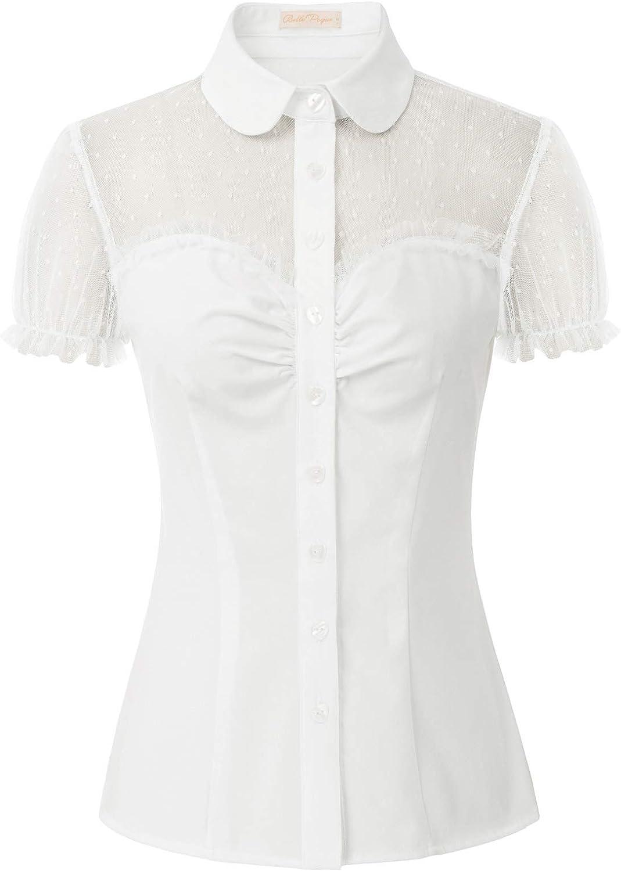 Women's Sheer 1950s Retro Vintage Shirts Polka Dots Mesh Rockabilly Blouse Tops
