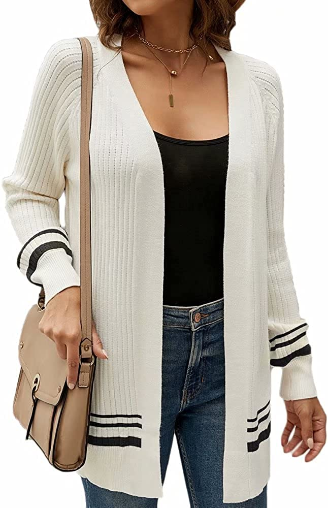 Dumajo Women's Knitted Cardigan Sweaters Open Front Long Sleeve Shrug Outerwear