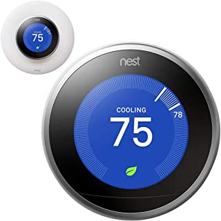 Google Nest Learning Smart Thermostat - 3rd Generation - Stainless Steel T3007ES Bundle with elago Wall Plate Upgraded Wall Mount Cover Designed for Google Nest Learning Thermostat - Matte White