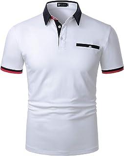 STTLZMC Casual Polo Hombre Mangas Corta Camisetas Contraste Cuello Golf Tennis T-Shirt