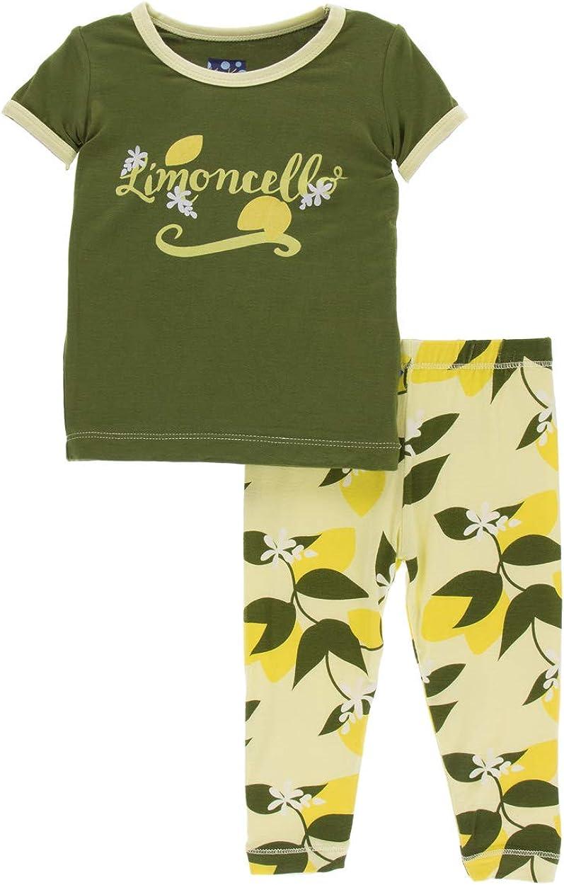 KicKee Pants Print Short Sleeve Pajama Set in Desert Rose Indian Train