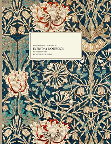 William Morris - Honeysuckle: Everyday Journal, 100 Pages Dot Grid Paper, 8.5' x 11' (21.59 x 27.94 cm)