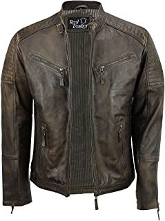 Xposed Mens Real Leather Fitted Brown Retro Biker Vintage Urban Zip Casual Jacket