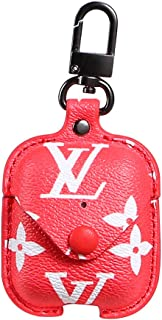 Leather Case with Keychain for Apple AirPods, Yoelike Premium Leather Vintage Portable Shockproof Protective Cover for Apple AirPods Earphones Charging Case (Flower-red)