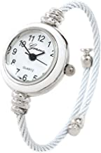 White Silver Cable Wire Band Women's Bangle Cuff Watch