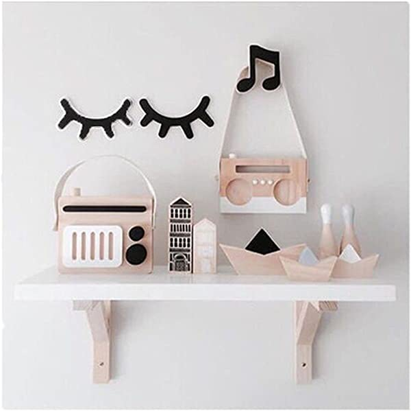 Edtoy Wooden Eyelash Wall Decoration Sleepy Eyes Infant Baby Room Nursery Decor Wall Hanging Sticker For Boys Girls And Kids Rooms Baby Shower Gift Black