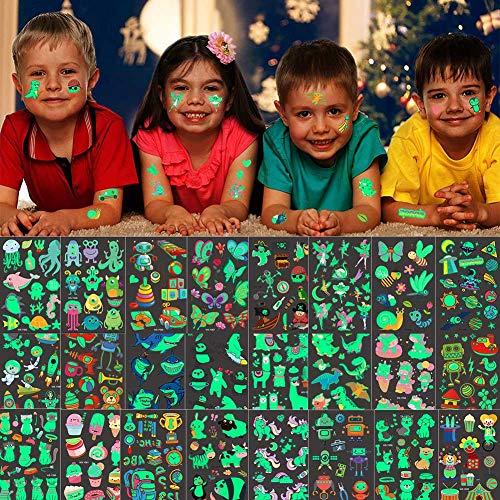 30 Blätter Tattoo Kinder, Leuchten im Dunkeln Temporäre Tattoos Kindertattoos Set, Leuchtende Tattoo Aufkleber für Jungen Mädchen Kinder Spielen Kindergeburtstag Mitgebsel
