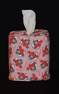 Tissue Box Cover. Bedtime with Paddington Bear. Fully Lined and Hand Made.