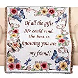 Collections Etc Tapestry Throw Blanket with Fringe Border, My Friend, Floral with Butterflies, 50' X 60'