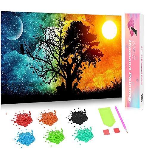 Fun Sponsor DIY 5D Diamant Painting, mit Geschenkbox, neue Verpackung,Crystal Strass Stickerei Bilder Kunst Handwerk für Home Wall Decor by (Tag-und Nacht)