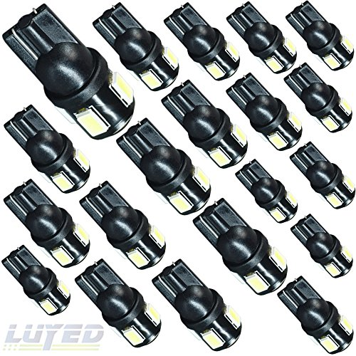 LUYED 20 X 240 Lumens Super Bright 5630 6-EX Chipsets 194 168 175 2825 W5W 158 161 T10 Wedge Led Bulbs,Xenon White(Best value in this market)