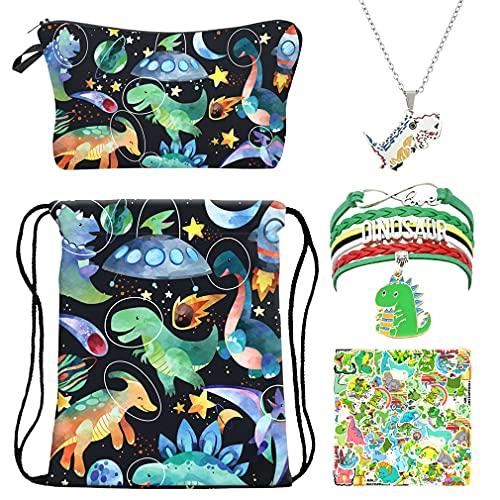 RLGPBON Dinosaur Gift Sets, Dinosaur Drawstring Backpack,Makeup Bag ,Charm Bracelet ,Animal Jewelry Lover Gift, Christmas Day Gift