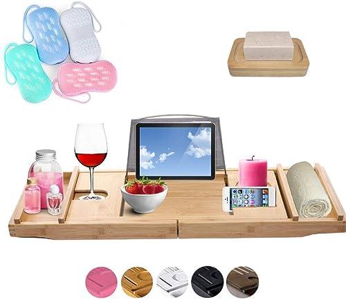 Bath Caddy Tray for Bathtub Australia - Bamboo Premium Expandable - Wine Glass Holder, Book/Tablet/iPad Rack, Non Sli...