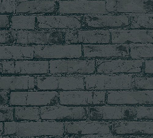A.S. Création Vliestapete Best of Wood`n Stone 2nd Edition Tapete in Stein Optik fotorealistische Steintapete Backstein 10,05 m x 0,53 m metallic schwarz Made in Germany 907882 9078-82,