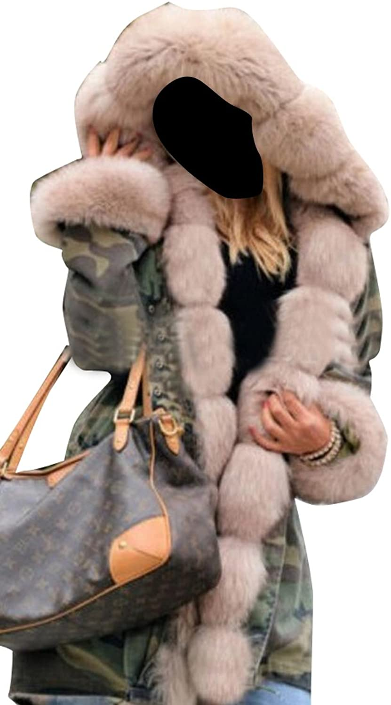 Fensajomon Womens Casual Winter Fur Collar Warm Camouflage Hoodie Long Overcoat