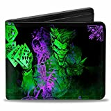 Buckle-Down mens Buckle-down Pu Bifold - the Joker Card Flipping Poses Black/Greens/Purples Wallet, Multicolor, 4.0 x 3.5 US
