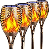 """TomCare Solar Lights Outdoor 99 LED Flickering Flame Solar Torch Lights 43"""" Decorative Waterproof Solar Powered Pathway Lights Landscape Lighting Auto On/Off for Garden Patio Yard, 4Pack (Bronze)"""