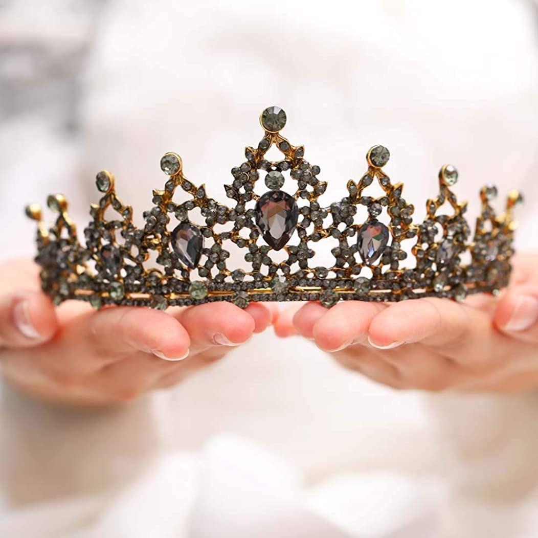 天使ブルームオフ女性と女の子のためのJovono花嫁の結婚式の王冠ブライダルビーズクリスタルクラウンティアラ(ブロンズ)