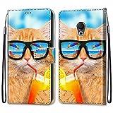 Ougger Hülle für Meizu 15 Lite, M15 Handyhüllen Flip Hülle Cover Stylish mit Standfunktion & Magnetisch PU Tasche Schutzhülle passt für Meizu 15 Lite, M15 (Coole Katze)