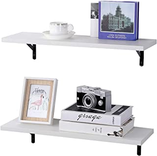 SUPERJARE Wall Mounted Shelves, Set of 2, Display Ledge, Storage Rack for Room/Kitchen/Office - White