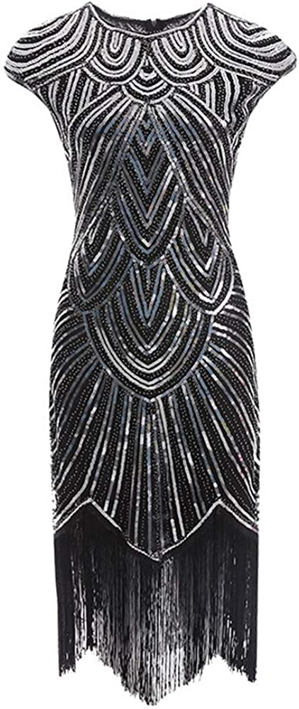 WSIRMET Womens 1920s Vintage Sleeveless Dresses Beaded Fringe Embellished Round Neck Sequin Embroidery Slim Party Dress