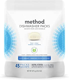 Method Dishwasher Detergent Packs, Free + Clear, 45 count, 1 pack, Packaging May Vary