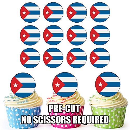Cuba Vlag - 24 Eetbare Cupcake Toppers/Verjaardag Cake Decoraties - Easy Precut Circles