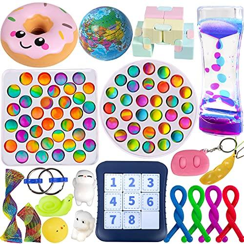Gmajtars Fidget Sensory Toys Pack Fidgets Set de Juguetes Sensorial Burbujas Antiestrés Fillet Fifget Figet Figettoy Figwt Figet Toy Box para Niños Regalo Fiesta Navidad Cumpleaños