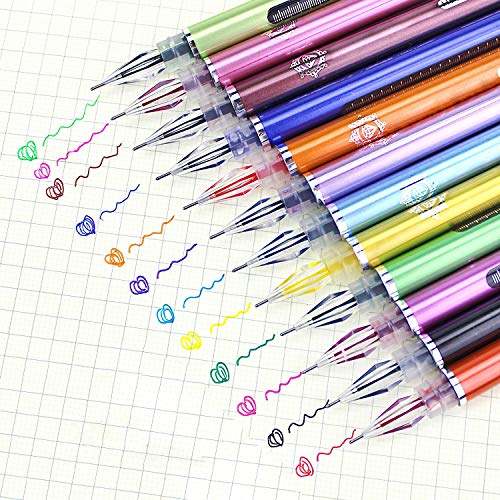 iMustech Colored Gel Pens for Adult Coloring Books Extra Fine Point (0.5 mm) Art Pens for Journaling Colorful Drawing Pens Set with Case 12 Colors Fine Tip Markers Journal Pens