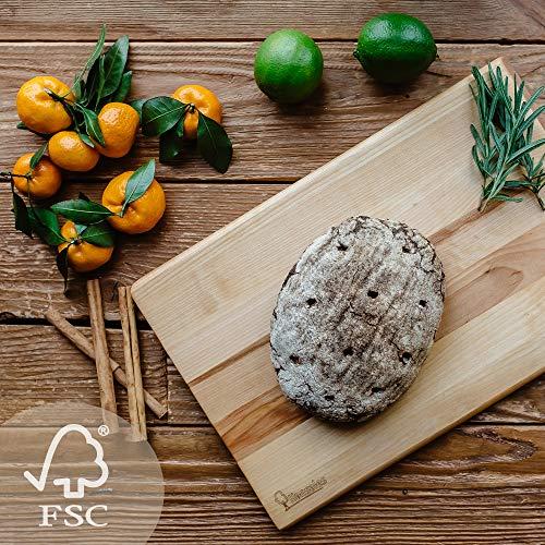 Tabla de Cortar Grande para la Cocina - 41 X 28 X 2 cm – 4 Variaciones – Aprobado por FSC – Ecologica Hecha de Madera de Abedul – Adecuada para Cortar Pan Vegetales Frutas Carne Pescado