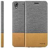zanasta Designs Tasche HTC Desire 626G Hülle Flip Hülle Slim Schutzhülle Handytasche mit Kartenfach, Standfunktion | Grau