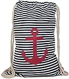 styleBREAKER zaino sportivo dal design marinaresco a righe con stampa di ancora, borsa da sport, unisex 02012052, colore:Marino-Bianco/Rosso