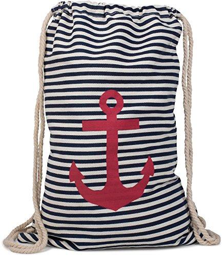 styleBREAKER Turnbeutel Rucksack im maritimen Design mit Streifen und Anker Print, Sportbeutel, Unisex 02012052, Farbe:Marine-Weiß/Rot