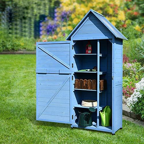 61fTzSejg0L - Zengqhui Außen Balkon Locker Lagerschrank Garten Regenfest Sunproof Korrosionsschutz Hof Ideale Aufbewahrungsbox für den Außenbereich (Farbe : Blau, Size : 84x45x178cm)