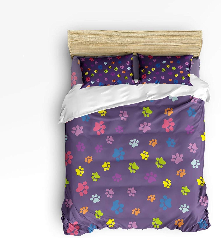Cute colorful Puppy Footprints Twin Size 4 Piece Bedding Set, Ultra Soft Microfiber Lightweight Microfiber Duvet