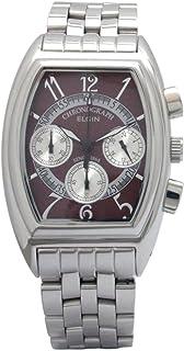[エルジン]ELGIN 腕時計 エレガントクロノグラフ 日本製ムーブメント オールステンレス トノーカーヴェックスタイル ワインレッド FK1403S-R メンズ